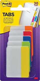 Post-it Tabs, 2 in, Rio de Janeiro Collection, Sticks Securely, Removes Cleanly, Great for Binders, Notebooks and File Folders, 6 Tabs/Color, 5 Colors, 30 Tabs/Pack, (686-RIO2)