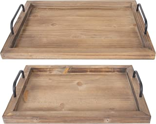 Besti Rustic Vintage Food Serving Trays (Set of 2) | Nesting Wooden Board with Metal Handles | Stylish Farmhouse Decor Ser...