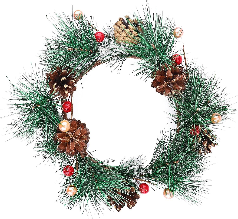 Gukasxi Corona de Navidad para puerta delantera, corona de pino rústico artificial de 30 cm para casa de campo interior y exterior, decoración de pared, coronas de bienvenida,decoraciones navideñas