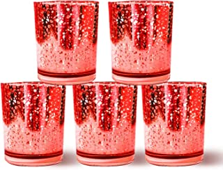 Homemory Set of 12 Votive Candle Holders Bulk, Red Tealight Candle Holder, Mercury Glass Candle Holder for Wedding, Parties, Christmas Decoration and Home Decor