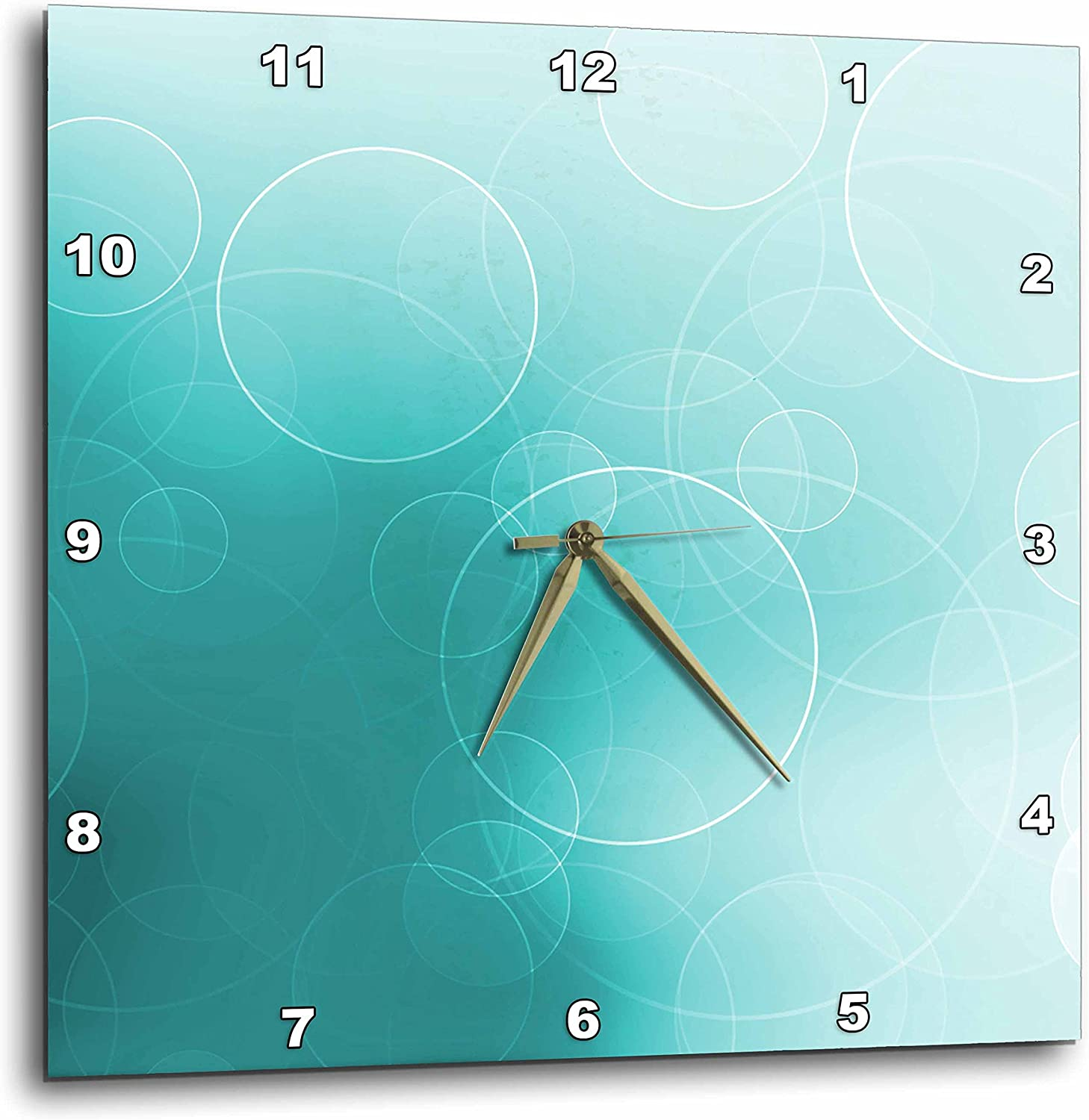 3dpink DPP_152883_3 Pretty Floating White Circles on a Shimmering Turquoise Background Wall Clock, 15 by 15-Inch