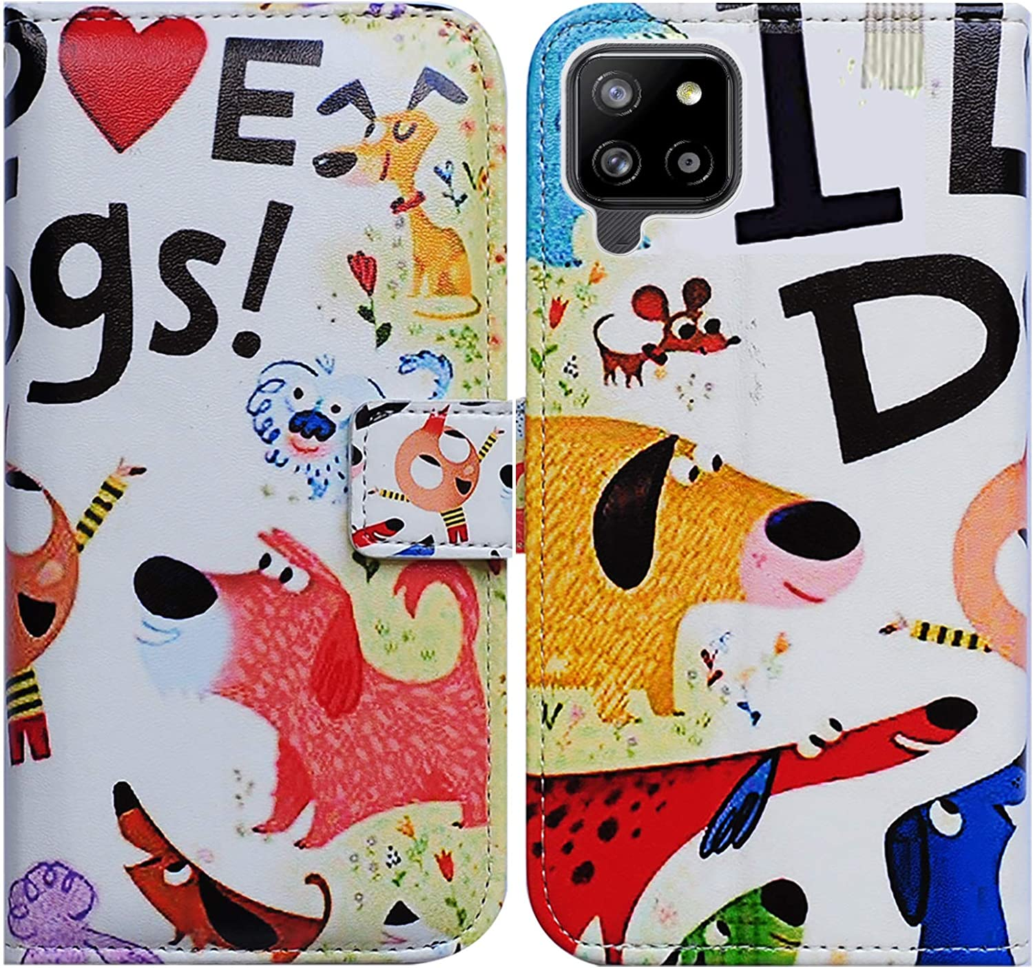 Galaxy A42 5G Case,Bcov Colorful Cute Dogs Leather Flip Phone Case Wallet Cover with Card Slot Holder Kickstand for Samsung Galaxy A42 5G 2021