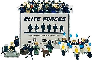 Conjunto de figuras de las fuerzas de élite. 37 figuras 3 Motocicletas 100+ Accesorios Militares S.W.A.T Soldados del Ejército de la Policía Fuerzas Especiales de la Armada. Set de regalo. Minifiguras