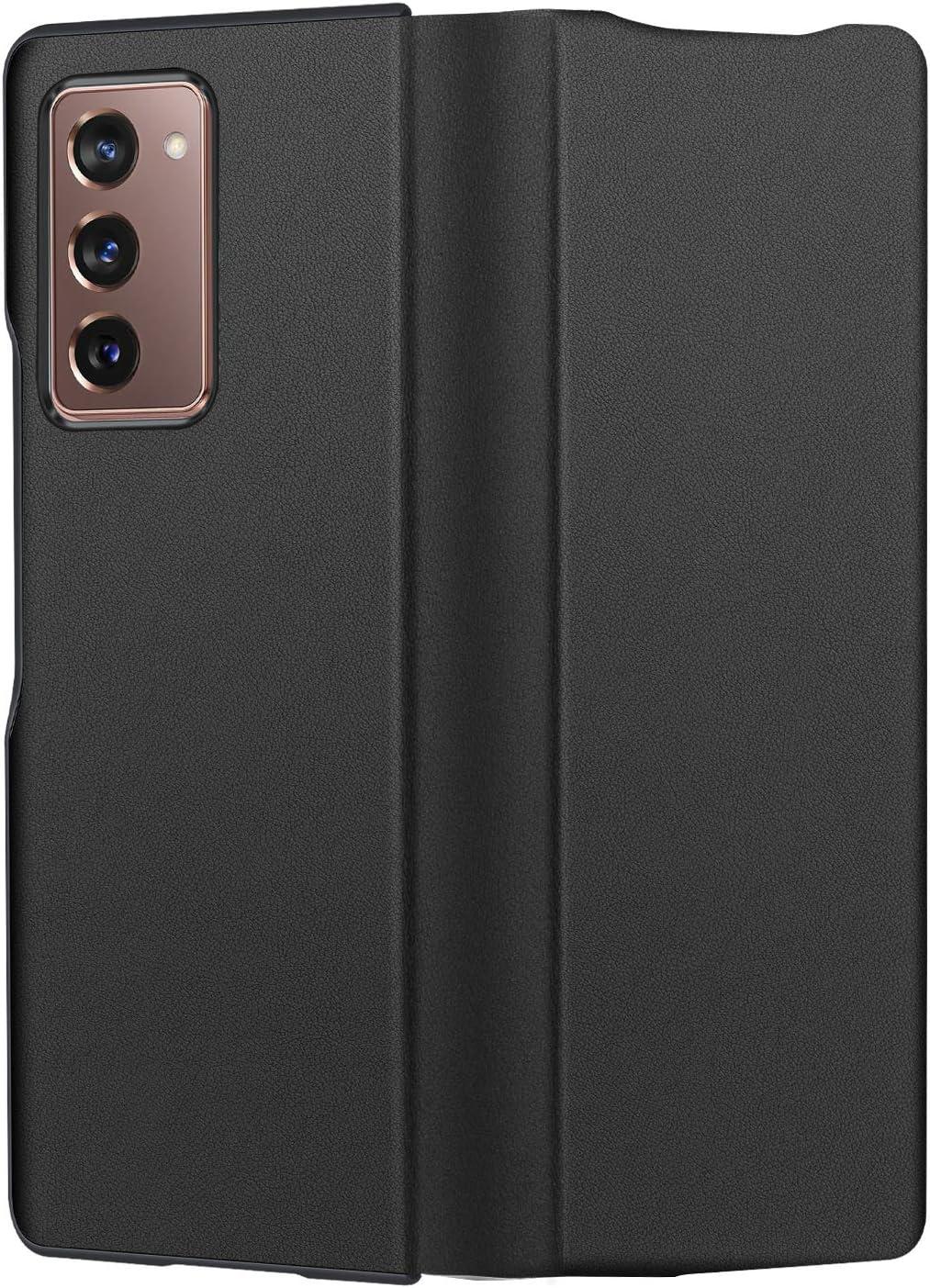 CENMASO Designed for Galaxy Fold 2 Case, Ultra-Thin Leather Magnetic Flip Case for Samsung Galaxy z Fold 2 5G- Black