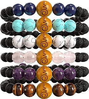Set of 6 Boho Beaded Anxiety Bracelets for Women | Braclets with Rose Quartz, Amethyst, Tiger's Eye, Lapis Lazuli, Blue & White Howlites, Lavarock & Sandalwood. Gift Box. Gift Card + Extra Satin Bag