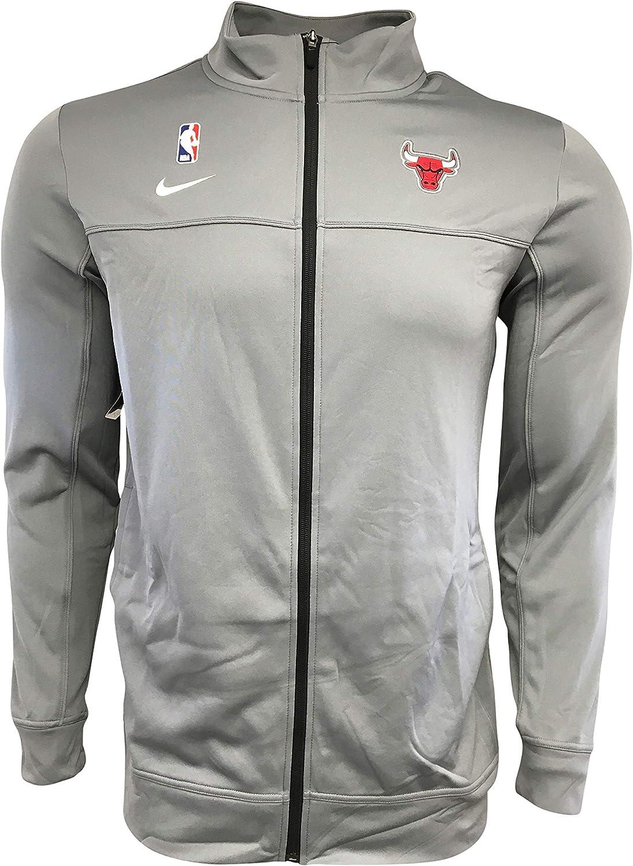 Nike Men's Chicago Bulls Full-Zip Jacket 100% Polyester Basketball AV1650 Gray (Large Tall)