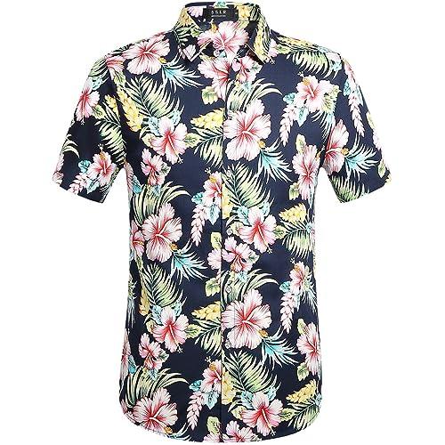 7d185d52f4 SSLR Men's Cotton Button Down Short Sleeve Hawaiian Shirt