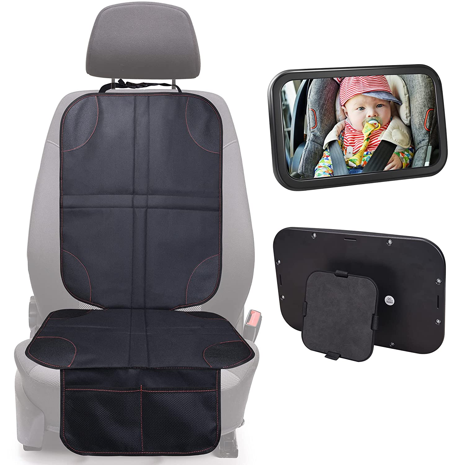 BIG ELEPHANT Baby Car Seat Protector and Car Mirror Set- Infant Carseat Mat, Stable Child Rear Facing Mirror with Wide Clear View