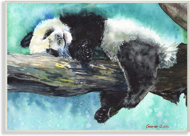 Stupell Industries Sleepy Baby Panda Omaha Mall in Over Vibrant Deluxe Blue Tree