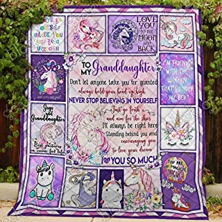 Love My Unicorn Granddaughter, Gigi Quilt PN751gi, Queen All-Season Quilts Comforters with Reversible Cotton King/Queen/Twin Size - Best Decorative Quilts-Unique Quilted for Gifts