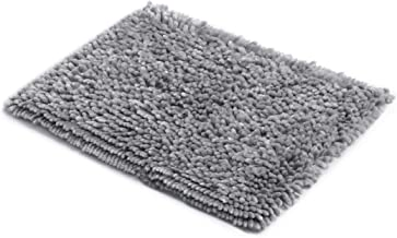 MICRODRY SoftGloss Shiny Absorbent Shag Chenille Memory Foam Bath Mat with GripTex Skid-Resistant Base (17x24, Chrome)
