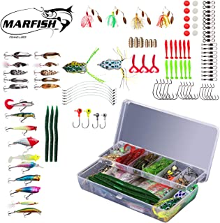 Marfish 106Pcs Fishing Lure Tackle Bait Set Including Topwater Lures, Spinnerbaits Crankbaits,Soft Plastic Worms, Soft Frogs, Jigs, Tackle Box and More.