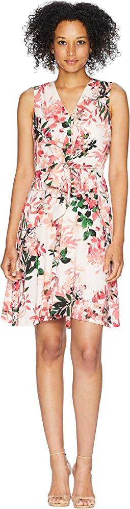 V-Neck Floral Dress with Tie Front CD8E31MB