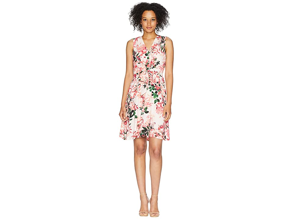 Calvin Klein V-Neck Floral Dress with Tie Front CD8E31MB (Watermelon Multi) Women