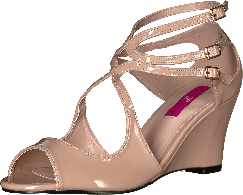 Pleaser Pink Label Women's Kim04 Cr Wedge Sandal, Cream Patent, 13 M US