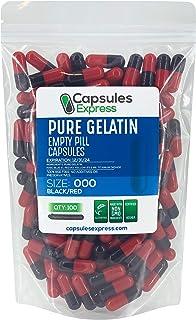 Capsules Express- Size 000 Black and Red Empty Gelatin Capsules - Kosher - Pure Gelatin Pill Capsule - DIY Powder Filling ...