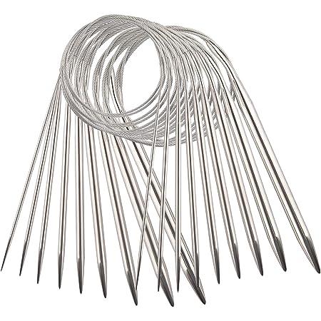 AIEX 9pcs Acier Inoxydable Ensemble D'Aiguilles à Tricoter Circulaires Aiguilles à Tricoter Pour Projet De Tissage - 2,5mm / 3,5mm / 4,5mm / 5,5mm / 6mm / 7mm / 8mm / 9mm / 10 mm