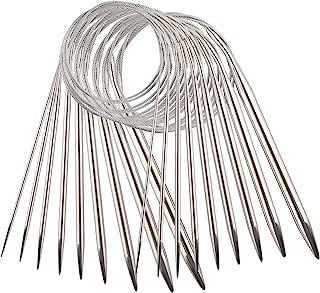 AIEX 9pcs Acier Inoxydable Ensemble D'Aiguilles à Tricoter Circulaires Aiguilles à Tricoter Pour Projet De Tissage - 2,5mm...