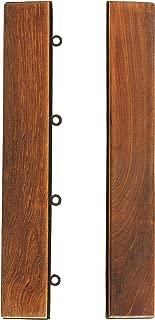 Bare Decor EZ-Floor End Trim Piece Interlocking Flooring in Solid Teak Wood (Set of 2)