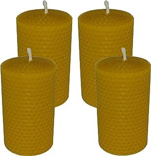 AMA-Feinkost Juego de 4 velas de cera de abeja enrolladas de 100 x 50 mm, hechas a mano de Spessart.