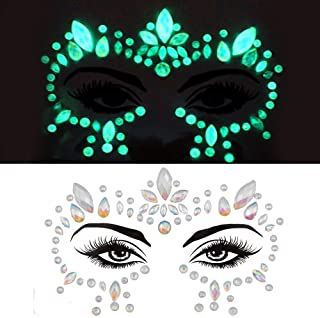 glow in the dark face gems face body jewels festival pastie fluorescence crystals rhinestone bindi face tattoo for halloween makeup women face sticker (tp319 around eyes)