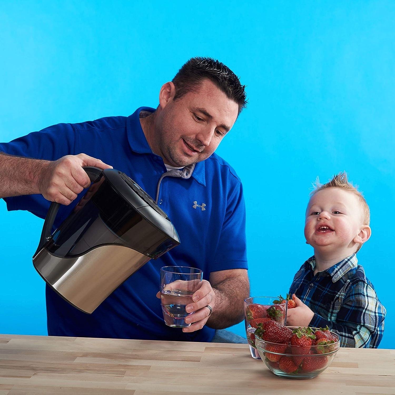 BPA-frei und zertifiziert zur Reduzierung der Menge von Blei und anderen Schwermetallen Gratis Wasserqualit/ätsmessger/ät Wasserfilterpatrone inklusive ZeroWater Wasserfilter 1,4L