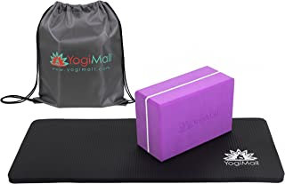 YogiMall Yoga Blocks Set of 2 & Yoga Strap OR Yoga Knee Pad, Block and Carry Bag 3-in-1 Set. Eco-Friendly Yoga Kits to Deepen Your Poses & Improve Balance. Ideal for Yoga, Pilates & Exercise