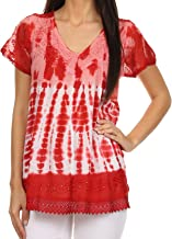 Sakkas Violet Embroidery Tie Dye Sequin Accents Blouse/Top