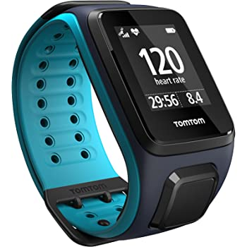 TomTom Runner 2 Cardio - Montre GPS - Bracelet Large Bleu Marine / Turquoise (ref 1RF0.001.01)