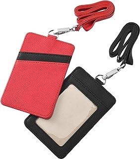 Irich 2Pcs Porte-badge avec Lanière, Badge D'identification en Cuir Titulaires de Carte Badges Transparent pour Protection...