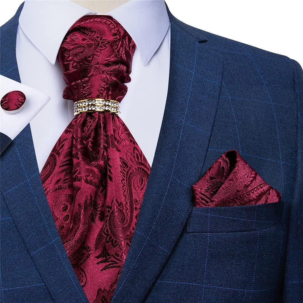 CDQYA Burgundy Red Men Vintage Ascot Tie Wedding Formal Cravat Necktie Hanky Cufflinks Ring Set For Party (Color : Burgundy Red, Size : One size)