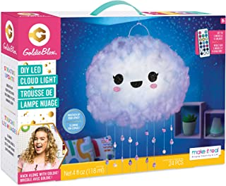 Make It Real GoldieBlox - DIY Floating LED Cloud Light Color Changing Hanging Light for Kids' Bedroom - STEM Toy Kit - Includes LED Light Strips with Remote and Stickers
