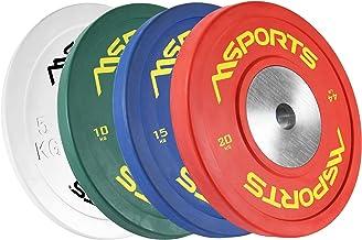 MSPORTS Olympia halterschijven, set van 2, professionele gatdiameter 51 mm, studiokwaliteit, gietijzer, met rubber ommante...