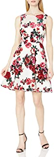 Women's Floral Fit-and-Flare Dress