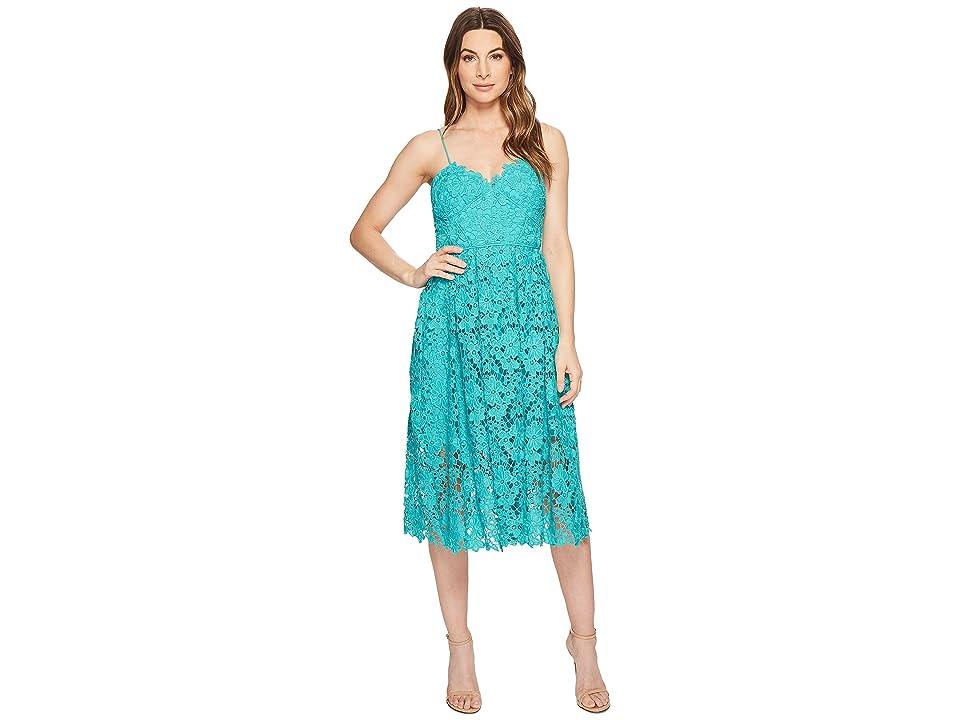 Donna Morgan Spaghetti Strap Lace Midi Dress (Sea Green) Women