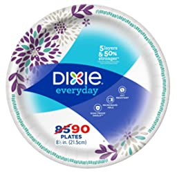 """Dixie Everyday Paper Plates, 8 1/2"""", 90 count, Lunch or Light Dinner Size Printed Disposable Plates"""
