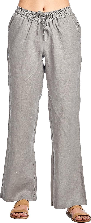 High Style Women's Wide Leg Smocked Waist 100% Linen Pants Drawstring tie
