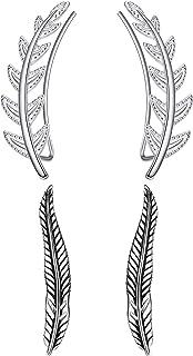 Sllaiss 2 Pairs Leaf Ear Crawler Cuff Earrings 925 Sterling Silver for Women Girls Ear Climber Studs Earrings Olive Leaf H...
