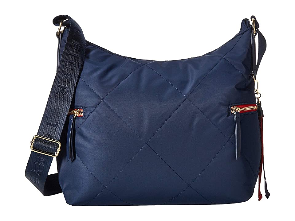 Tommy Hilfiger Kensington Hobo Quilted Nylon (Tommy Navy) Hobo Handbags