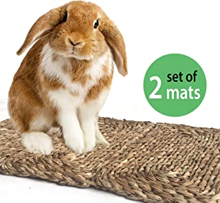MadeTerra Grass Pet Mats and Balls for Bunny, Rabbit, Hamster, Guinea Pig, Chinchilla and Small Animals Woven Play Bedding and Chew Toys   Protect Paws from Wire Cage, Save Carpet and Furniture