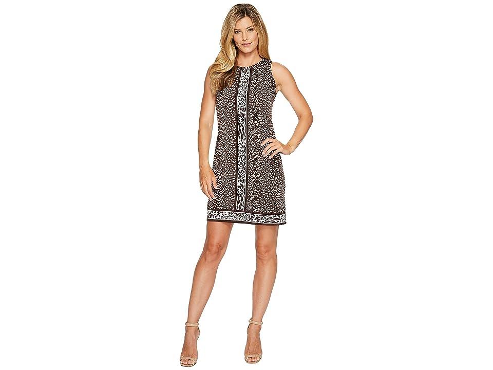 MICHAEL Michael Kors Cheetah Sleeveless Border Dress (Chocolate) Women