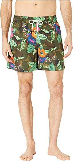 Tropical Camo Traveler Swim Trunks