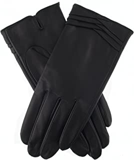Dents Women's Leather Gloves With Pleat Detail And Fine Fleece Lining