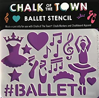 Chalk of the Town Ballet Washable Stencil for Kids Crafts and Chalkboard T-Shirts