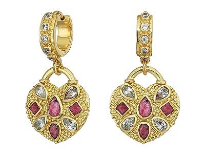 SOLE / SOCIETY Heart Locket Huggie Earrings (12K Soft Polish Gold/Crystal/Pink Aventurine) Earring