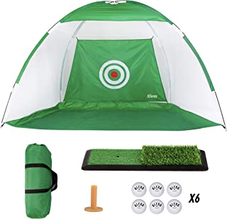 5 PCS Golf Bundle | 10x7 Foot Giant Golf Approach Practice Net | Double Hitting Mat | Carry Bag | 6 Golf Practice Sponge Balls | Rubber Golf Tee | Indoor and Outdoor | Golf at Home Training Aids
