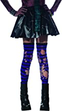 Zombie Ripped Purple & Black Striped Thigh Highs Costume Hosiery Child