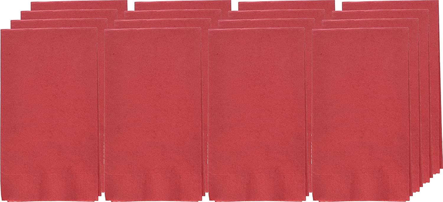 Amscan Party Perfect Vibrant 2Ply Guest Towels (16 Piece), Apple Red, 8 x 4.5