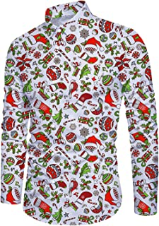 Men's Christmas Santa Claus Long Sleeve Shirt Xmas Party Holiday Button Down Dress Shirts