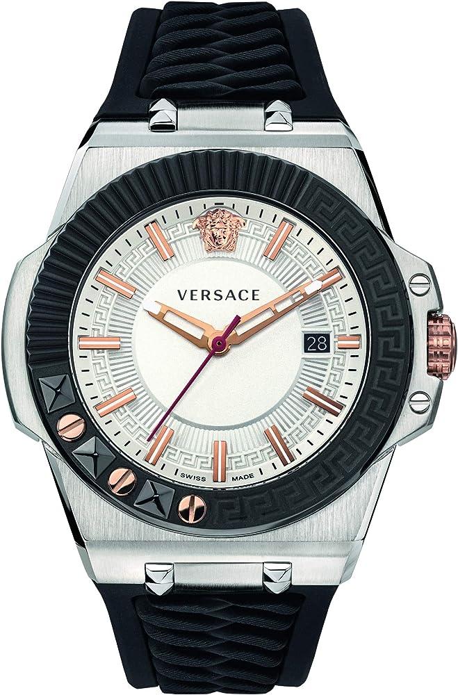 Versace orologio da uomo con cassa in acciaio e cinturino in silicone VEDY002 19